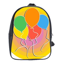 Birthday Party Balloons Colourful Cartoon Illustration Of A Bunch Of Party Balloon School Bags (xl)