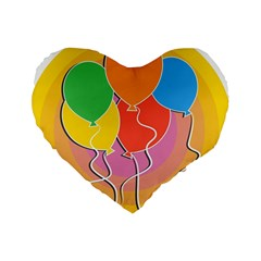 Birthday Party Balloons Colourful Cartoon Illustration Of A Bunch Of Party Balloon Standard 16  Premium Heart Shape Cushions