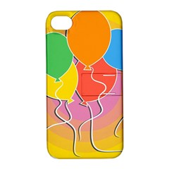 Birthday Party Balloons Colourful Cartoon Illustration Of A Bunch Of Party Balloon Apple iPhone 4/4S Hardshell Case with Stand