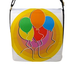 Birthday Party Balloons Colourful Cartoon Illustration Of A Bunch Of Party Balloon Flap Messenger Bag (l)