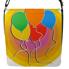 Birthday Party Balloons Colourful Cartoon Illustration Of A Bunch Of Party Balloon Flap Messenger Bag (S)