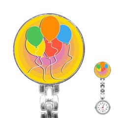 Birthday Party Balloons Colourful Cartoon Illustration Of A Bunch Of Party Balloon Stainless Steel Nurses Watch