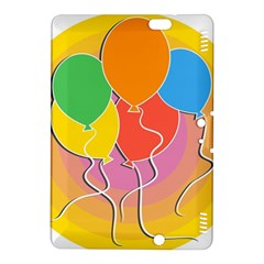 Birthday Party Balloons Colourful Cartoon Illustration Of A Bunch Of Party Balloon Kindle Fire Hdx 8 9  Hardshell Case