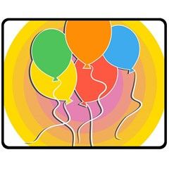 Birthday Party Balloons Colourful Cartoon Illustration Of A Bunch Of Party Balloon Double Sided Fleece Blanket (medium)