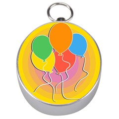Birthday Party Balloons Colourful Cartoon Illustration Of A Bunch Of Party Balloon Silver Compasses