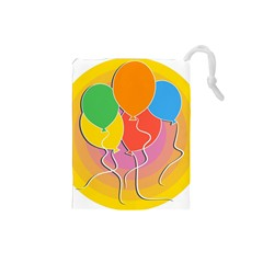 Birthday Party Balloons Colourful Cartoon Illustration Of A Bunch Of Party Balloon Drawstring Pouches (small)
