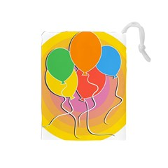 Birthday Party Balloons Colourful Cartoon Illustration Of A Bunch Of Party Balloon Drawstring Pouches (medium)