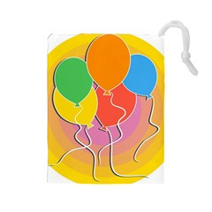 Birthday Party Balloons Colourful Cartoon Illustration Of A Bunch Of Party Balloon Drawstring Pouches (Large)