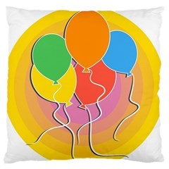 Birthday Party Balloons Colourful Cartoon Illustration Of A Bunch Of Party Balloon Large Flano Cushion Case (two Sides)