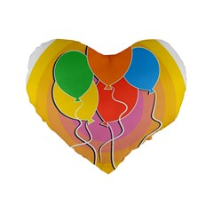 Birthday Party Balloons Colourful Cartoon Illustration Of A Bunch Of Party Balloon Standard 16  Premium Flano Heart Shape Cushions