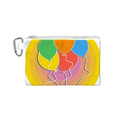 Birthday Party Balloons Colourful Cartoon Illustration Of A Bunch Of Party Balloon Canvas Cosmetic Bag (S)