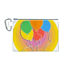 Birthday Party Balloons Colourful Cartoon Illustration Of A Bunch Of Party Balloon Canvas Cosmetic Bag (M)