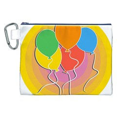 Birthday Party Balloons Colourful Cartoon Illustration Of A Bunch Of Party Balloon Canvas Cosmetic Bag (xxl)