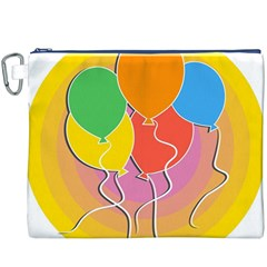Birthday Party Balloons Colourful Cartoon Illustration Of A Bunch Of Party Balloon Canvas Cosmetic Bag (XXXL)