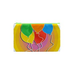 Birthday Party Balloons Colourful Cartoon Illustration Of A Bunch Of Party Balloon Cosmetic Bag (XS)