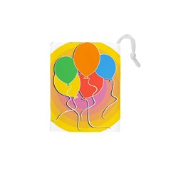 Birthday Party Balloons Colourful Cartoon Illustration Of A Bunch Of Party Balloon Drawstring Pouches (XS)