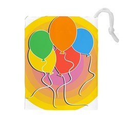 Birthday Party Balloons Colourful Cartoon Illustration Of A Bunch Of Party Balloon Drawstring Pouches (Extra Large)