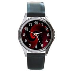 Red Fractal Spiral Round Metal Watch