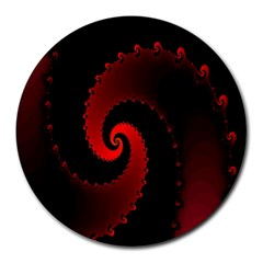 Red Fractal Spiral Round Mousepads