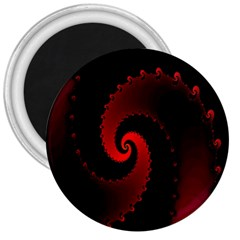 Red Fractal Spiral 3  Magnets