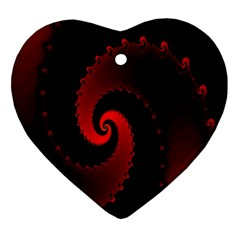 Red Fractal Spiral Ornament (Heart)