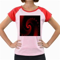 Red Fractal Spiral Women s Cap Sleeve T-Shirt