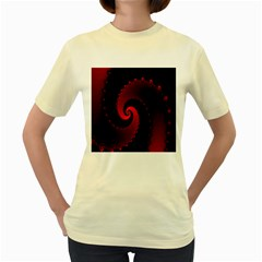 Red Fractal Spiral Women s Yellow T-Shirt