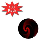 Red Fractal Spiral 1  Mini Magnets (100 Pack)