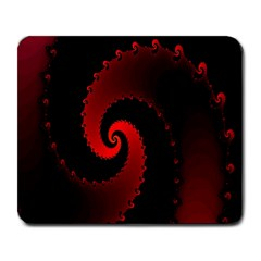 Red Fractal Spiral Large Mousepads