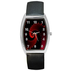 Red Fractal Spiral Barrel Style Metal Watch