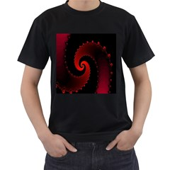 Red Fractal Spiral Men s T-Shirt (Black) (Two Sided)