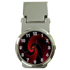 Red Fractal Spiral Money Clip Watches