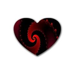 Red Fractal Spiral Heart Coaster (4 Pack)