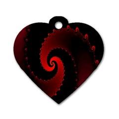 Red Fractal Spiral Dog Tag Heart (One Side)