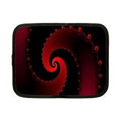 Red Fractal Spiral Netbook Case (small)