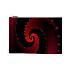 Red Fractal Spiral Cosmetic Bag (Large)