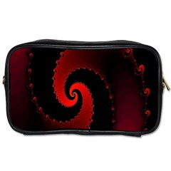 Red Fractal Spiral Toiletries Bags