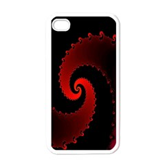 Red Fractal Spiral Apple iPhone 4 Case (White)
