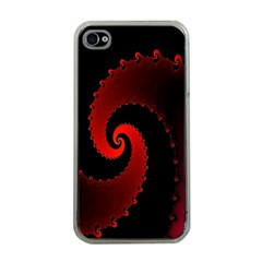 Red Fractal Spiral Apple iPhone 4 Case (Clear)