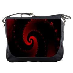 Red Fractal Spiral Messenger Bags