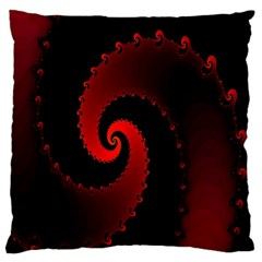Red Fractal Spiral Large Cushion Case (Two Sides)