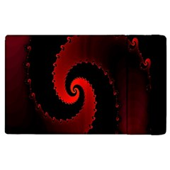 Red Fractal Spiral Apple iPad 3/4 Flip Case
