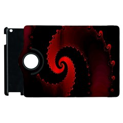 Red Fractal Spiral Apple iPad 2 Flip 360 Case