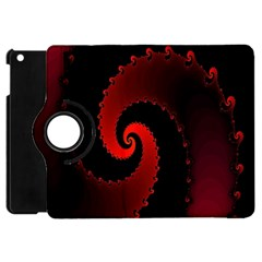 Red Fractal Spiral Apple iPad Mini Flip 360 Case
