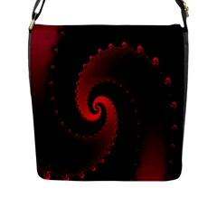 Red Fractal Spiral Flap Messenger Bag (l)