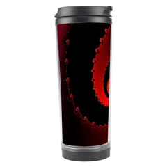 Red Fractal Spiral Travel Tumbler