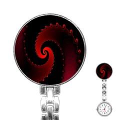 Red Fractal Spiral Stainless Steel Nurses Watch