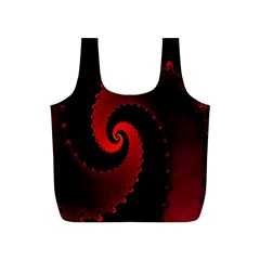 Red Fractal Spiral Full Print Recycle Bags (S)