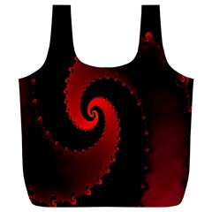 Red Fractal Spiral Full Print Recycle Bags (l)