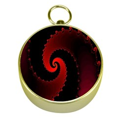 Red Fractal Spiral Gold Compasses